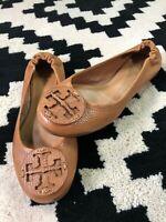 Tory Burch Reva  tumbled Logo Ballet Flats Shoes Brown Tan Leather Women 6.5