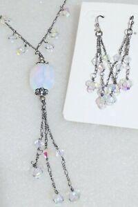 Lia Sophia OPULENCE Necklace & Earrings Set w Aurora Borealis Crystal Beads HTF