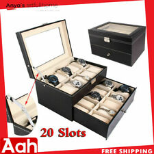 20 Slot Grid Large Watch Collection Box Leather Display Case Storage Black