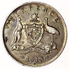 1918 M Sixpence Australia ~ KM#25 George V ~ Rare & Good Grade