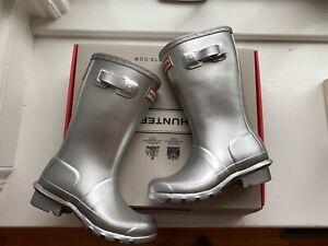 Hunter Girls Original Metal Silver Rain Boots Size 13 New