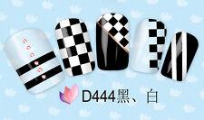 D438 D448 Adesivi ad acqua per unghie MANICURE OPTICAL b/n nail art 2D DECALS