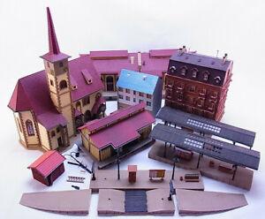 86815 Konvolut H0 Vollmer 7x Häuser Kirche Schuppen Bahnhof Lager gebraucht