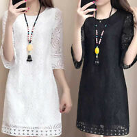 Plus Size Fashion Women Lace Dress Round Neck Loose Casual Summer Midi Dress TRF