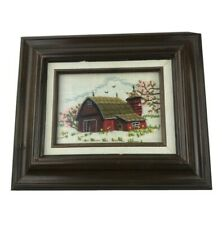 Crewel Framed Embroidered Spring Barn Completed Handmade Yarn Art Picture Floral