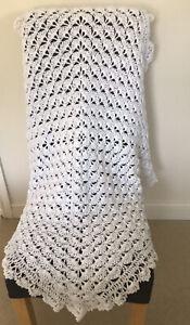 White Hand Made crochet baby shawl 4ply Blanket Christening Receiving Blanket