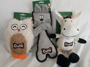 Crufts Set Of 3 animal Squeaky Dog Toys 8 to 11 Inch Brand new