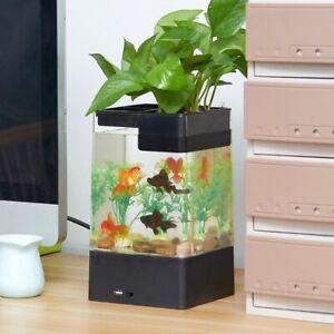 Mini Acrylic Betta Fish Tank USB Desktop Marine Aquaponic