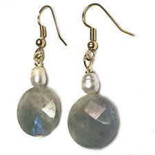 Labradorite Pearl Earrings Hypoallergenic Surgical Steel Gold Plated ER02c