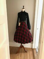 Womens VTG Red Scotch Plaid Pleated Wool 60s Skirt Retro Secretary Full Skirt