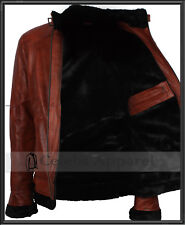 Mens Designer Brown Fashion Faux Fur Winter Warm Biker Leather Jacket