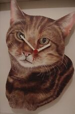 Tabby Cat novelty wooden wall clock British made from Lark Rise