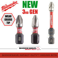 Milwaukee 2X PZ2 25mm Pozi 2 Screwdriver Bits Driver Bit Shockwave Impact Duty