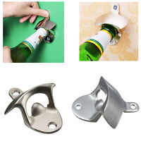 Unique Wall Mounted Stainless Steel Bar Wine Beer Glass Caps Bottle Opener.