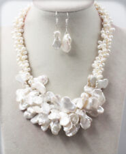 Wedding 3 rows June Pearl Baroque White keshi reborn Pearl Necklace Set L 48cm