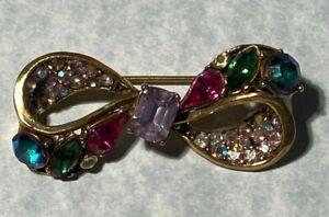 HOLLYCRAFT 1950s Signed Multi Color Rhinestone Estate Jewelry Brooch Pin