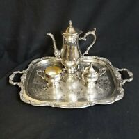"Vintage Silver Plated Coffee/Teapot, Creamer, Sugar Bowl and 24"" by !5"" Tray"