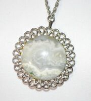 White Gray Circle Agate Stone Floral Floral Silver Tone Necklace Pendant Vintage
