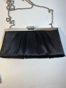 Black Satin Evening Bag with a long Chain