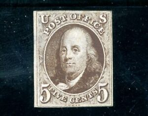 USAstamps Unused XF US 1847 Imperforate Franklin Sct #1 NG First Stamp Gem +Cert
