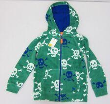 Boden Boy's Skull Print Towelling Zip-Up Hoodie 6-7Y Green  NWT