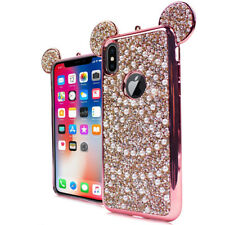 For iPhone X / 10 - Rose Gold Rhinestone Bling Teddy Ears Pearl Soft Rubber Case