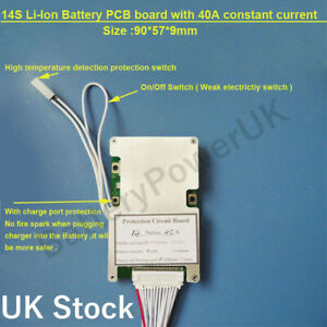 14s 48V bms 40A constant current - ON/Off switch UK Stock High Quality Smart