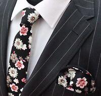 Tie Neck tie Slim Dark Wine Red with White Floral Quality Cotton T6147