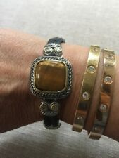 """NEW """"Look of Fine"""" Designer Inspired Rubber Bracelet CZ Tigers Eye Cable Detail"""