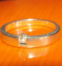 BEAUTIFUL BESPOKE UNUSUAL 18ct WHITE GOLD SOLITAIRE DIAMOND  RING SIZE N