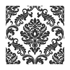 Ariel Black and White Damask Peel And Stick Wallpaper Null Free Shipping