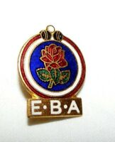 VINTAGE ENAMEL ENGLISH BOWLING ASSOCIATION BROOCH / BADGE / PIN