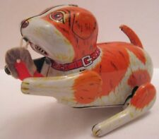 """Wonderful Antique Tin Wind Up Toy Bad Dog Chewing a Slipper 5  1/2"""" Japan 1950s"""