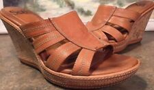 Sofft Open Toe Tan Leather Cork Platform Sandal Wedge High Heel Size 7M