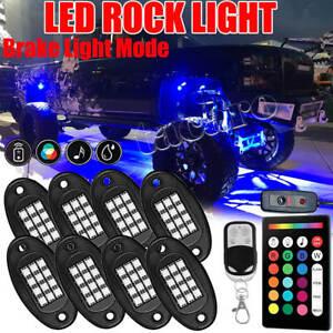 8 Pod RGB LED Rock Light Control Offroad Truck Under Glow Trail Flashing Lamp
