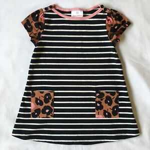 Hanna Andersson Dress Size 80 18 24 Months Black Striped Brown Flowers EUC Baby