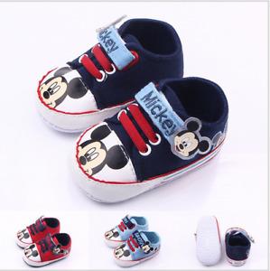 Newborn Baby Boys Girls Mickey Mouse Crib Pram Shoes Sneakers Prewalker Trainers