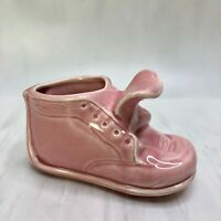Pottery Pink Baby Shoe Floral Planter Vase Nursery Decor Mid Century