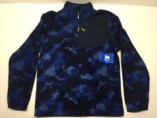 NWT Men's STARTER Winter Fleece Quarter Zip Jacket Blue Camo Size Small S 34-36