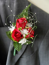 1 Artificial Silk Red Rose Corsage Buttonhole Wedding Flowers Artificial