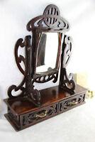 Art nouveau jugendstil German black forest wood carved vanity dresser mirror