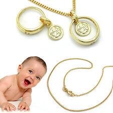 Baby Taufe Taufring mit Schutzengel Anhänger & Collier Kette 36 cm Echt Gold 333