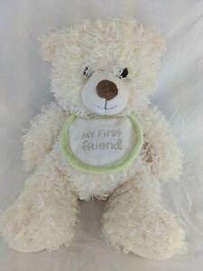 "Hallmark My First Friend Bear Plush 12"" Bib Curly Fur Stuffed Animal Toy"