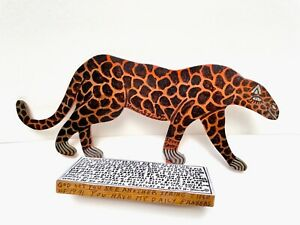 Howard Finster Art Original Signed Wood Cut-out Cheetah Animals AUTHENTIC