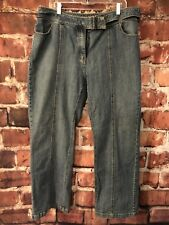 Venezia Womens Jeans Front Seam Built in Belt Med Wash Size 20