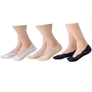 Ladies non-slip footsies stay-on padded shoe liners low cut invisible socks