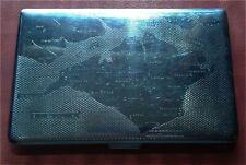 VINTAGE CIGARETTE CASE,silver plated,with engraved map English Channel,RICHMOND