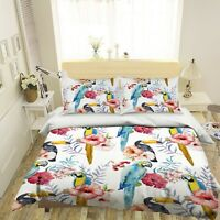 3D Vintage Flower Blue Parrot KEP9242 Bed Pillowcases Quilt Duvet Cover Kay