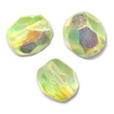 50 Perles Facettes en cristal de boheme 4mm - YELLOW PERIDOT AB