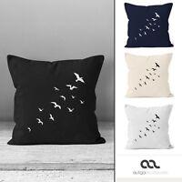 Kissenbezug Vögel Birds Fly Kissen-Hülle Deko-Kissen 40x40 Baumwolle Autiga®